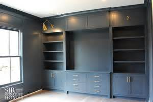 home office built ins gray home office with gray built ins and brass swing arm