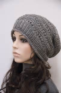 Knit hat charcoal chunky wool hat slouchy hatwool by maxmelody