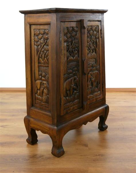 asia schrank sideboard solid wood with carved elephant designs asian