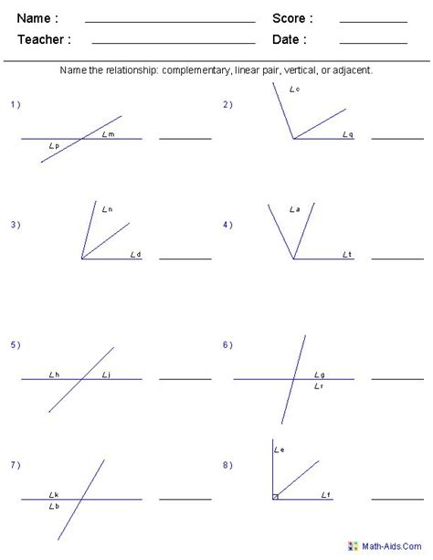 angle relationships worksheets for geometry google 1000 images about math worksheet angles on pinterest