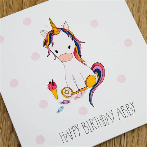 Birthday Cards Uk Personalised Handmade Unicorn Birthday Card Just For Cards