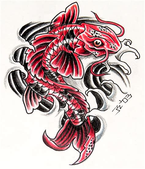 red tattoo designs japanese koi fish design