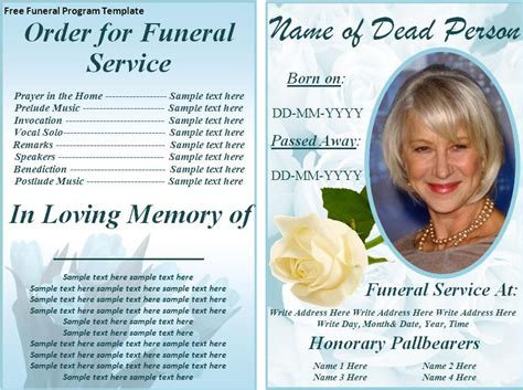 Free Funeral Card Templates For Word by Free Funeral Program Templates On The