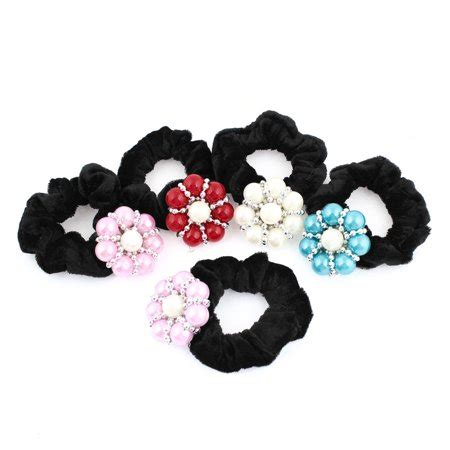 Disc Hair Tie 5 pcs plastic faceted disc elastic string hair tie