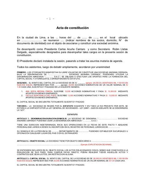 minutas modelo eirl acta constitucion