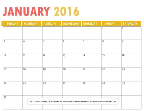 Calendar Templates Free 2016 All Lovely Free Printable January 2016 Calendars