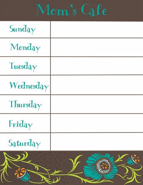 Weekly Menu Printable Therapeutic Crafting Weekly Menu Printable