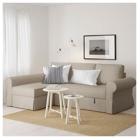 Ikea Sofa Bed With Chaise Backabro Sofa Bed With Chaise Longue Ramna Beige Ikea
