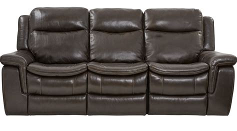 Milano Brown Leather Power Plus Reclining Sofa Contemporary Brown Leather Reclining Sofa