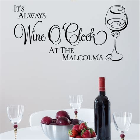 Inspirational Quote Wall Stickers personalised it s always wine o clock wall sticker decals