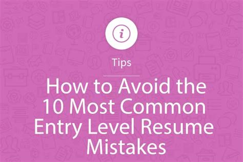how to avoid the 10 most common entry level resume