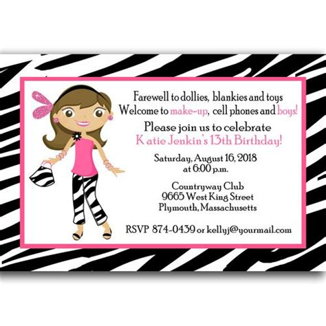 13th birthday card template free 13th birthday invitations ideas templates free
