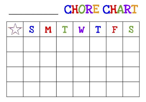 Free Printable Chore Chart For Kids Picture Chore Chart Template