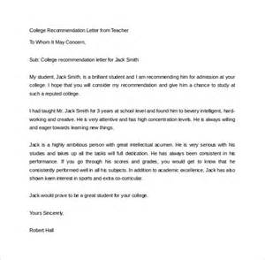 college recommendation letter template sle college recommendation letter 14 free documents
