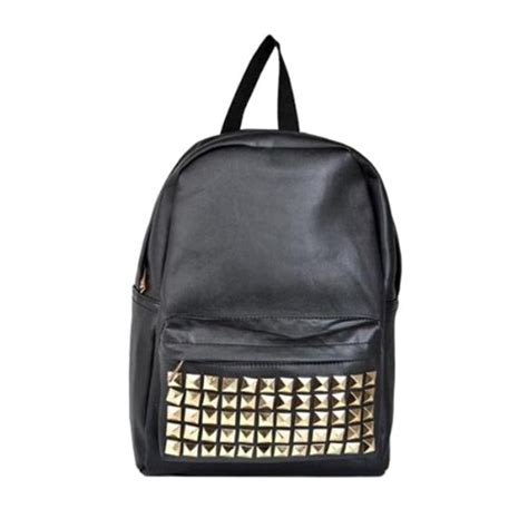 Bag Pu Leather With Studs 2 Colors backpack backpack shoulder bag with studs in black pu