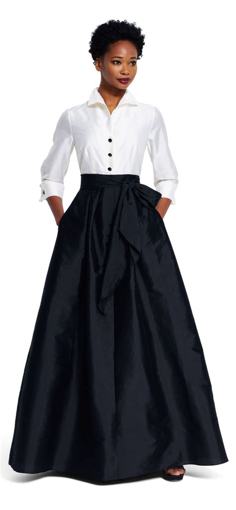 Blouse Dress taffeta blouse gown with tie waist high low