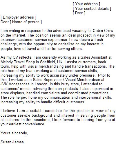 cover letter for cabin crew with no experience cabin crew cover letter sle
