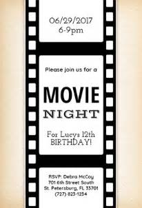 movie night free printable birthday invitation template