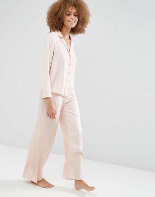 Set Shirt Wide Leg asos asos newton satin jacquard spot shirt wide leg