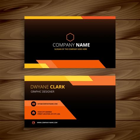 black business card template vector orange and black business card vector free