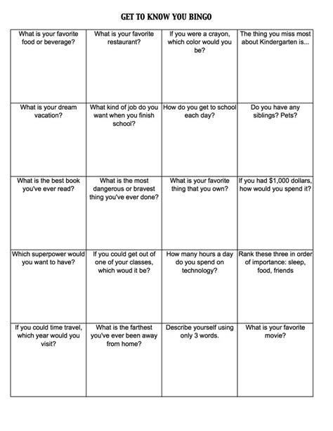 introduction bingo template get to you worksheets get to you bingo c