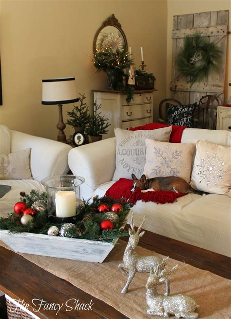 how to decorate a coffee table for christmas the fancy shack home tour