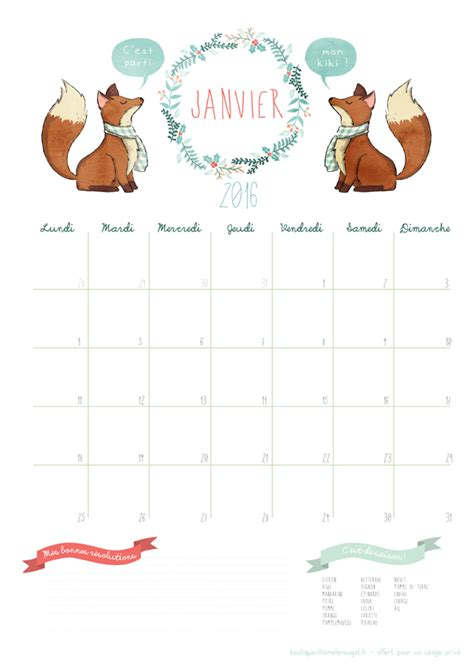 calendrier 2016 janvier free printable