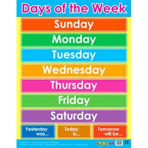 Of The Week Poster Template by Days Of The Week Chart Calendar Template 2016
