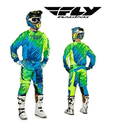 green motocross gear fly racing 2015 mx kinetic glitch blue jersey pant