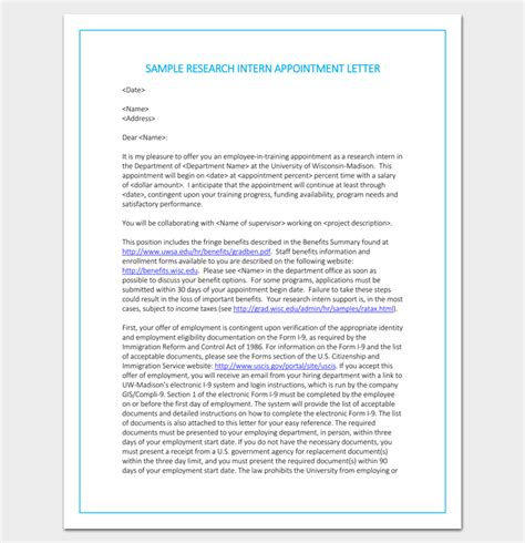 Research Volunteer Letter internship appointment letter template 10 docs formats