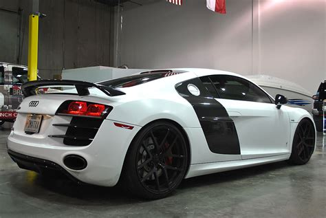 audi  satin white color change car wrap city