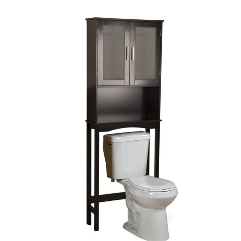 Bathroom Toilet Storage Furniture Espresso Glossy Wooden Freestanding Storage The Toilet With Drawer And Shelf