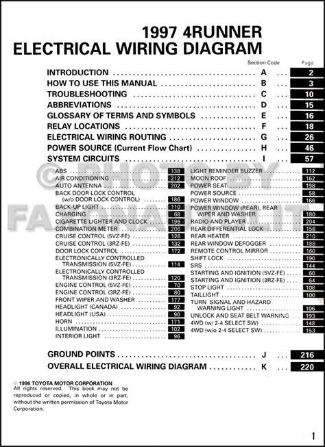 1997 Toyota 4Runner Wiring Diagram Manual Original