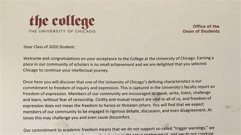College Welcome Letter of chicago dean s welcome letter is all about