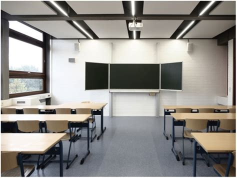 classroom lighting layout led linear lights duesseldorf classrooms with xoominaire