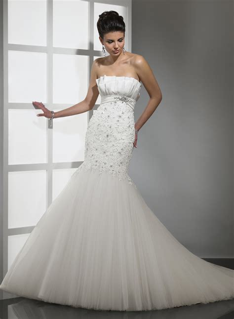 strapless mermaid wedding dress with beads sang maestro