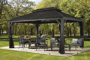 Patio Roofs And Gazebos Patio Sun Shelter Pool Furniture Gazebo 12 X 16 Ft Hardtop Steel Roof Garden Set Ebay