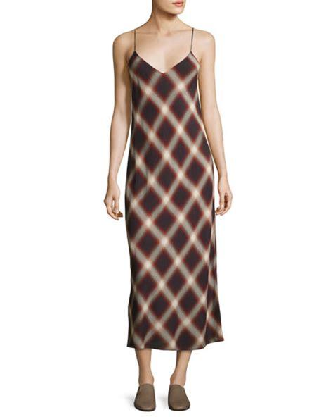 Plaid Midi Dress vince plaid v neck slip midi dress