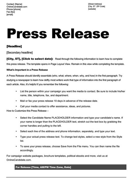 press release format template political print templates white and blue theme