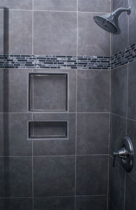 grey mosaic bathroom granite gray bathroom wall tiles idea featuring monochromatic gray mosaic shower wall