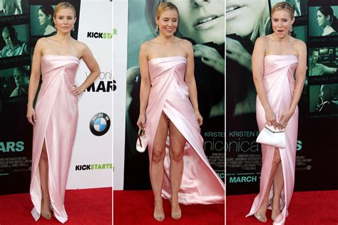 wardrobe malfunctions kristen bell can t avoid wardrobe malfunction at premiere