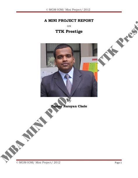 Mba Mini Project by Mba Mini Project By Tushar N Chole