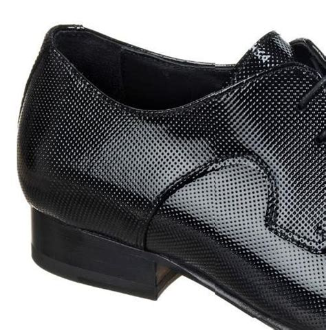 s micro perforated patent leather laced shoes black
