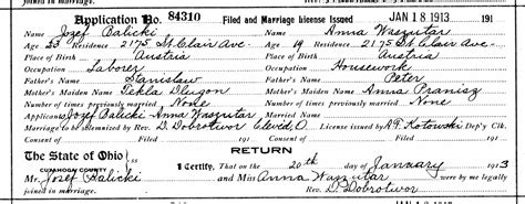 Marriage Records Cleveland Ohio Kowalski Family Documents The Spiraling Chains Kowalski Bellan Family Trees