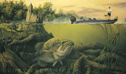 hca boat fishing club bass fishing painting