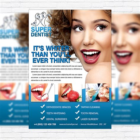 dental clinic free club and party flyer psd template