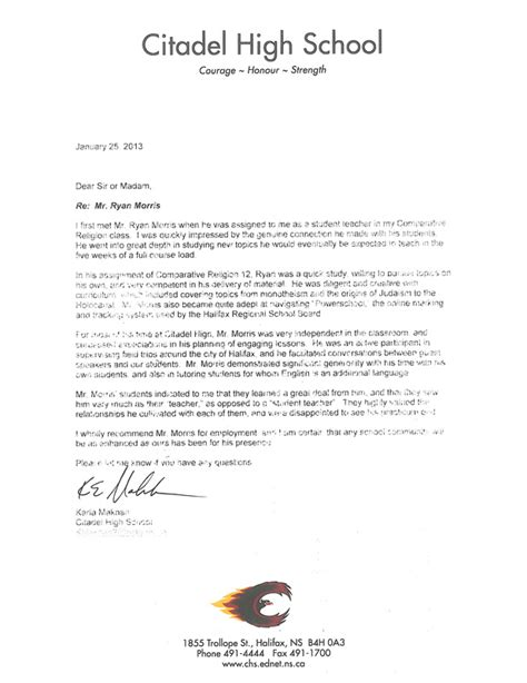 Letter Of Recommendation For High School Student From For College College Recommendation Letter