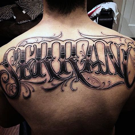 Tattoo Name On Back | 50 upper back tattoos for men masculine ink design ideas