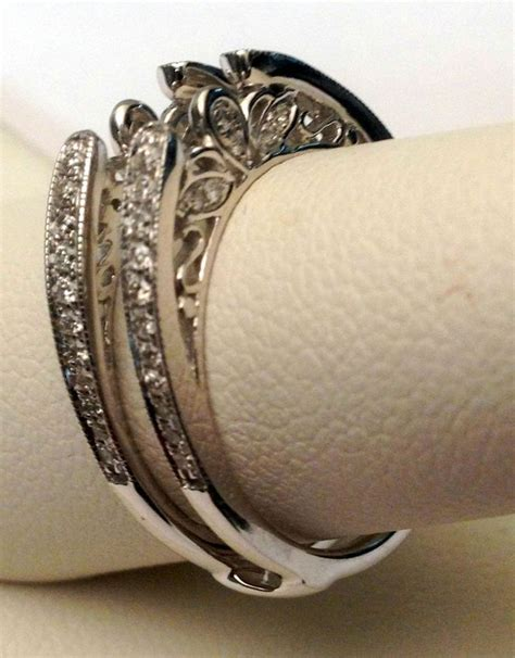 antique vintage cathedral ring diamonds guard solitaire