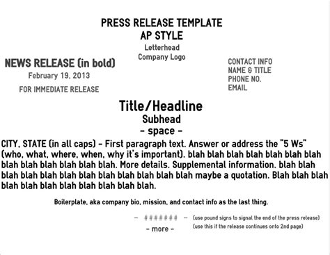 ap press release template five pro tips for a rockin news release brave nib